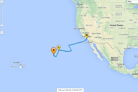 Hydroptère Pacific crossing - Day 5: The Hydroptère have come a very long way towards Hawaii.